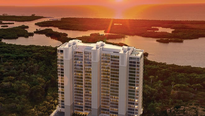 The residences in the second, 22-story tower at Kalea Bay offer panoramic views of the Gulf of Mexico.