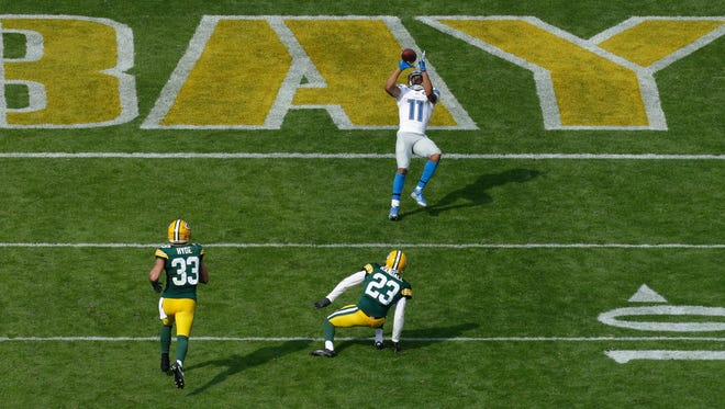 Detroit Lions wide receiver Marvin Jones (11) is all alone in the end zone to score a touchdown on a reception during the fourth quarter of their game Sunday, September 24, 2016 at Lambeau Field.