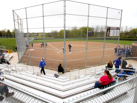 Franklin's new softball stadium as fans arrive for a game against rival Oak Creek on May 9.