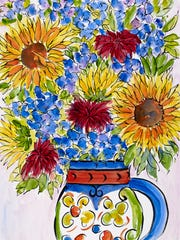 """Sunflower Bouquet in El Salvadoran Vase IV,"" by Jane"