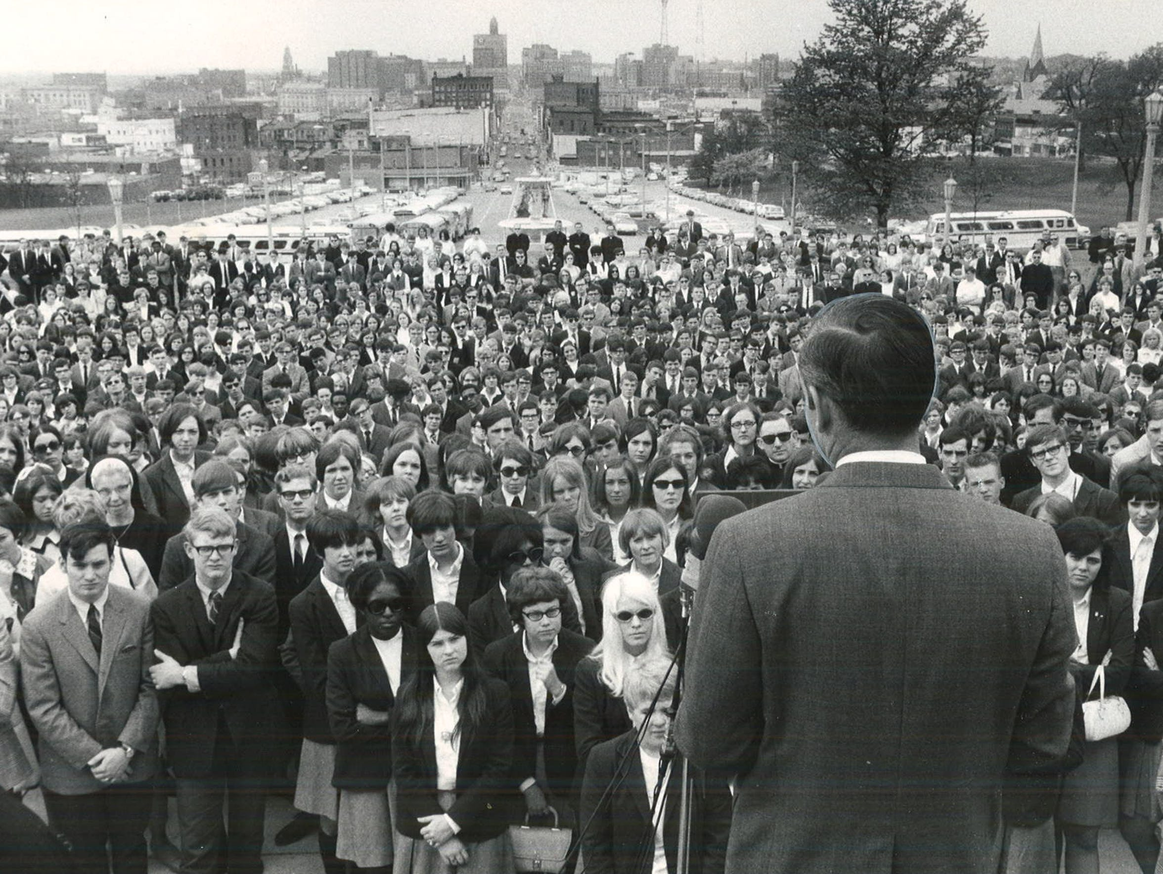 From 1969: Iowa Gov. Robert Ray addresses a large crowd