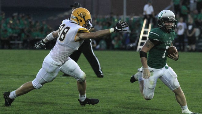 Clear Fork's Blake Dinsmore out paces Buckeye Valley's Matt Pentacost during a home game on Friday.