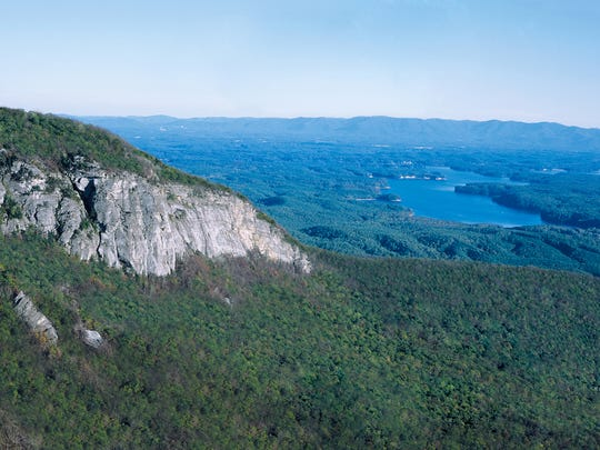 "This aerial view from Shortoff Mountain in Linville Gorge Wilderness looks down on to the ""Lodge Tract,"" which was just saved from development and is now a part of Lake James State Park."