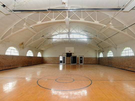 The second floor of the armory houses a basketball