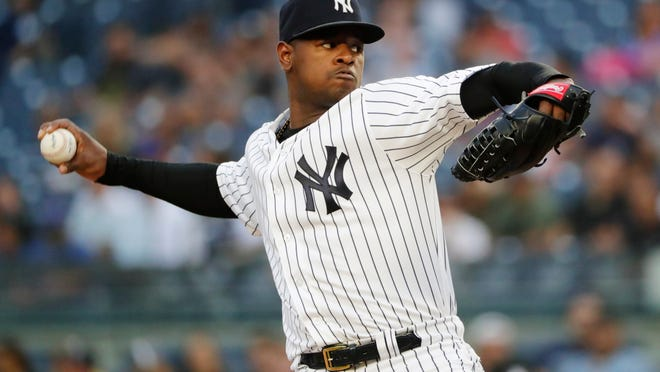 New York Yankees' Luis Severino delivers a pitch during the first inning of a baseball game against the New York Mets Monday, Aug. 13, 2018, in New York. (AP Photo/Frank Franklin II)