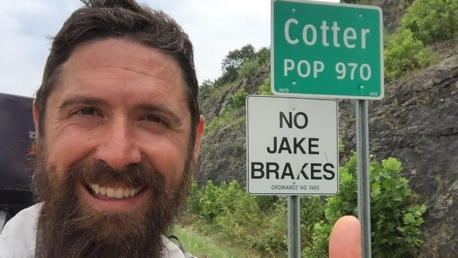 Ryan Ray posted this selfie on his Facebook page at walk2NY.com while passing through Cotter on Tuesday.