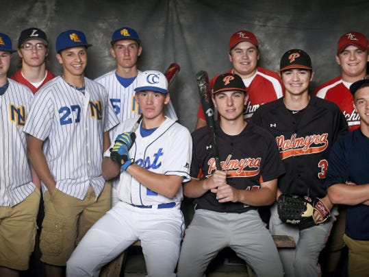 The 2015 Lebanon Daily News All-County Baseball team. From left to right, Northern Lebanon junior Chase Dubendorf, Lebanon sophomore Cody Kissinger, Northern Lebanon senior Jordan Nichols, Northern Lebanon senior Wyatt Beakler, Cedar Crest freshman Joseph Carpenter, Palmyra junior Evan Hallowell, Annville-Cleona senior Colton Long, Palmyra senior Bobby Dorta, Annville-Cleona junior Hunter Long, and Elco junior Travis Zimmerman.