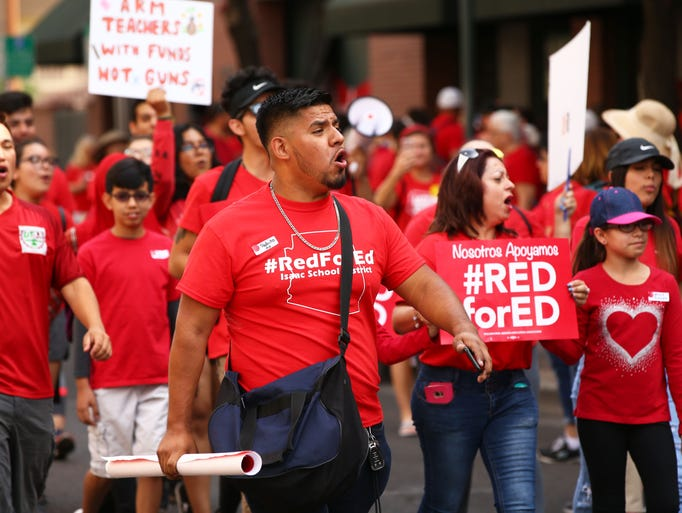 Students and parents join the Arizona teachers' march