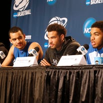 The Kentucky Wildcats starters take media questions ahead of their Round of 8 NCAA Tournament college basketball game against Notre Dame, Friday, March 27, 2015, at Quicken Loans Arena in Cleveland.