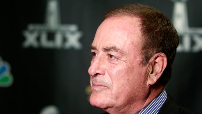 Jan 27, 2015: NBC Sports play-by-play announcer Al Michaels talks to reporters during the NBC Sports Group Press Conference at Media Center-Press Conference Room B.
