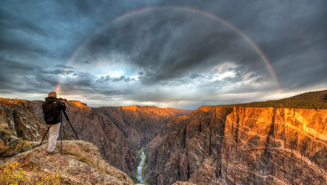On an October morning, photographer Howard Hill went out to Black Canyon of the Gunnison National Park in Colorado hoping for a great sunrise picture. When a morning rain storm passed, he ended up with something even better: This great rainbow shot from the canyon rim.