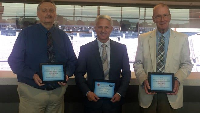 Keith Farrell, Robert Ervin and  Jim Bates were among the award recipients at last week's Kentucky High School Athletic Directors Association's awards banquet at Papa John's Cardinal Stadium in Louisville.