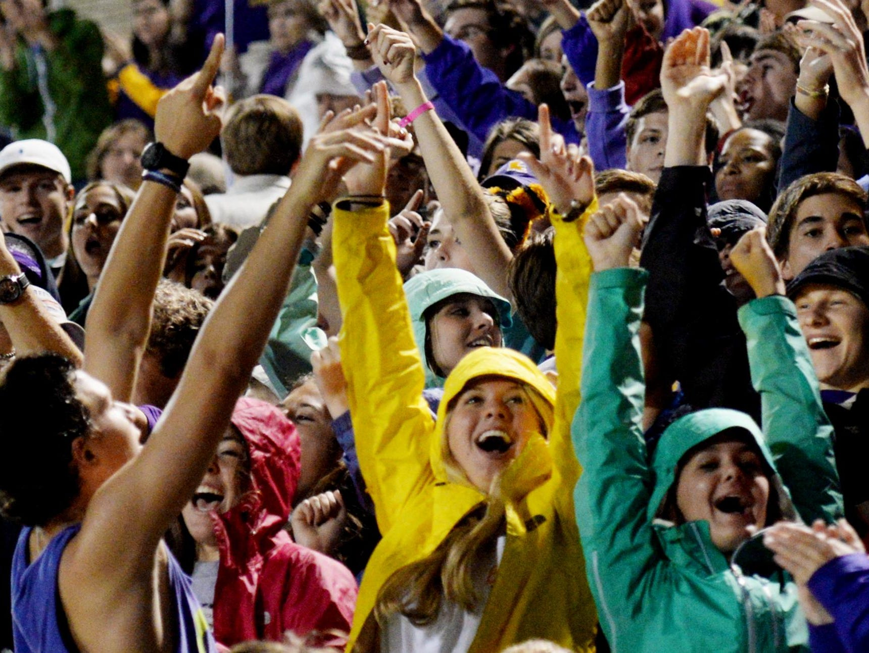 Byrd students cheer during Friday evening at Airline High School.