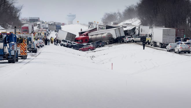 More than 30 cars were involved in a pile up on Interstate 78 just west of Route 22 Saturday morning.