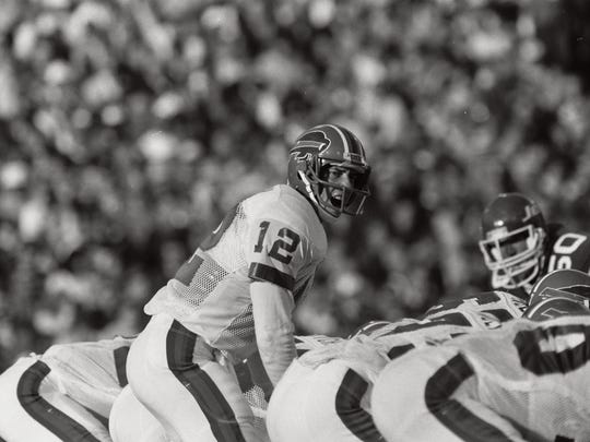Jim Kelly calls a play during his first NFL game, Sept. 7, 1986, against the New York Jets.