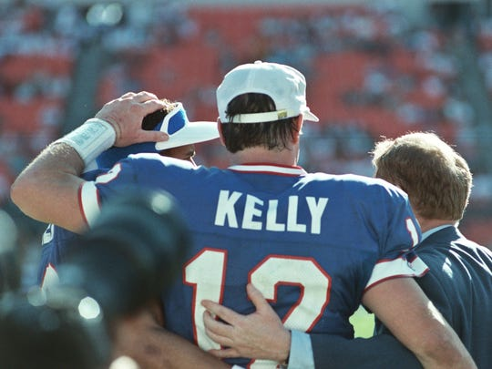 Jim Kelly led the Buffalo Bills to four straight Super Bowls in the 1990s.