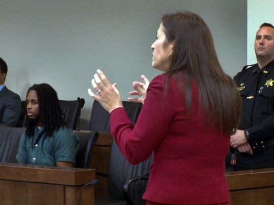 Monmouth County Assistant Prosecutor Hoda Soliman speaks during the sentencing of Jahmir Bouie before Judge Ronald L. Reisner in State Superior Court in Freehold Friday, December 2, 2016.  Bouie received a 55 year state prison sentence for the murder and robbery of Thomas Sudano, Jr., in Asbury Park.