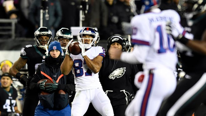 New York Giants wide receiver Sterling Shepard (87) completes a pass in the first quarter for a first down. The New York Giants face the Philadelphia Eagles in Week 16 at Lincoln Financial Field in Philadelphia, PA on Thursday, December 22, 2016.