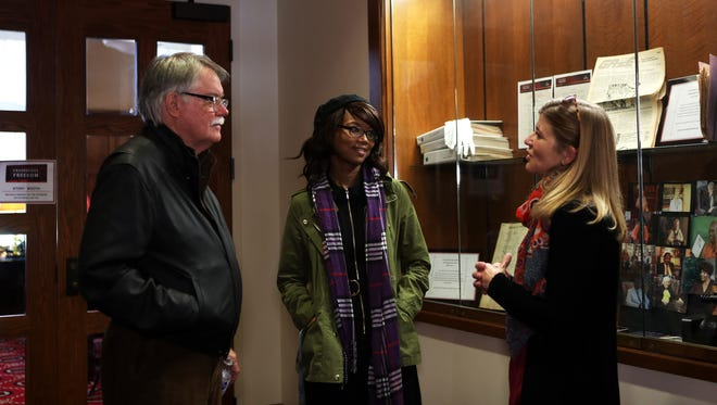 October 28, 2017 - (Left to right): Dr. Jim Lanier, professor emeritus at Rhodes College and co-historian of record for Crossroads to Freedom, Francesca McKee, of the first interns in the Crossroads to Freedom program, and Dr. Katherine Lambert-Pennington, director of the School of Urban Affairs and Public Policy and associate professor of anthroplogy at the University of Memphis, converse during a Crossroads to Freedom 10-year reunion reception at Rhodes College. Crossroads to Freedom is an oral history project where Rhodes College students interview Memphians about their role in the Civil Rights movement.