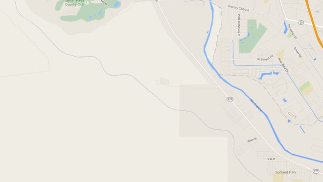 Map showing Santa Teresa and Sunland Park, NM