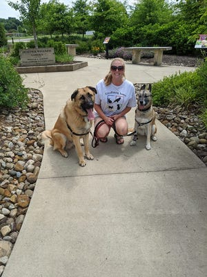 Liz Valentin and dogs Zeus (left) and Rhea will be among the participants in the GivePetsAChance virtual walk/run to raise funds for assist and companion animals with medical needs.