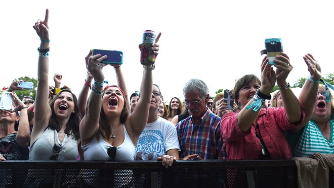 Fans cheer for Steven Tyler as he performs at the Pilgrimage Music & Cultural Festival in Franklin on Sept. 27, 2015.