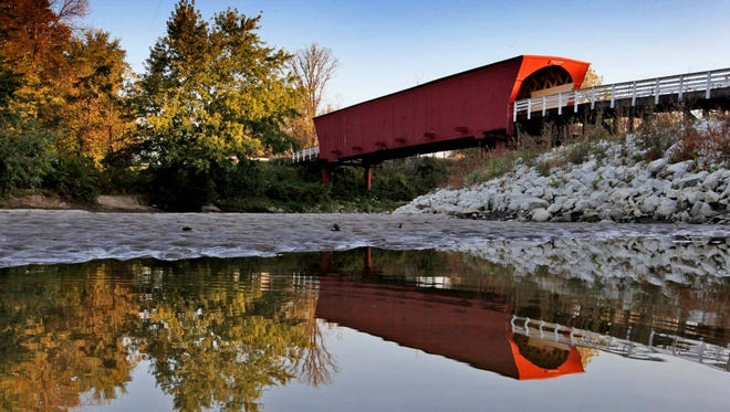 The Roseman Bridge, pictured here in 2010, is one of six remaining covered bridges in Madison County.