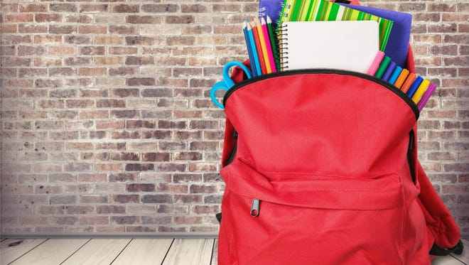 Backpack school bag knapsack object calculator isolated