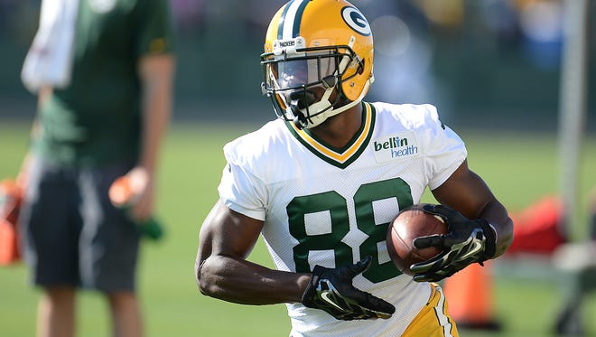 Receiver Ty Montgomery (88) at Green Bay Packers Training Camp at Ray Nitschke Field July 30, 2015.