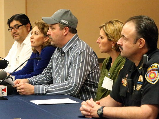 El Paso school district superintendent Juan Cabrera, center, talks about a crash that killed an Irvin High School coach and injured numerous students.  With him are, from left, Manuel Castruita, EPISD director of guidance services; Maria Kennedy, EPISD athletic director; Dori Fenenbock, EPISD school board president; and Victor Araiza, EPISD chief of police.