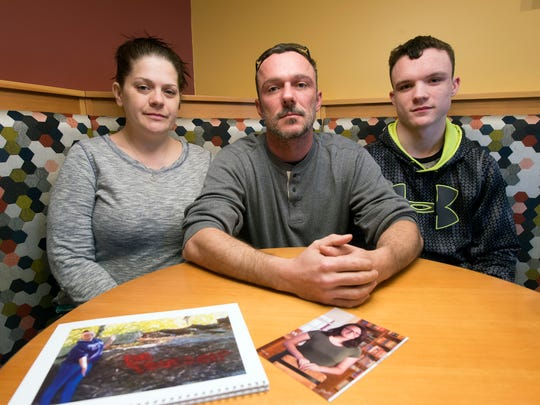 From the left, Kaylie Heaton's stepmother Stephanie Heaton, father James Heaton, and brother Nolan Heaton, 16, of Felton, gather on Wednesday in Shrewsbury to talk about what's happened with Kaylie. They met at Panera Bread, which is Kaylie's favorite restaurant.