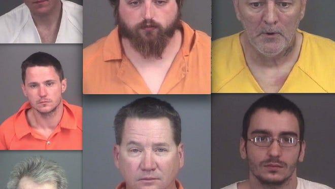 Clockwise from top left: Tobias Kenyon, Jeremiah Huey, James Ekdahl, Michael Hagan, Scott Cote, Charles Plotts and Chad Roberts.