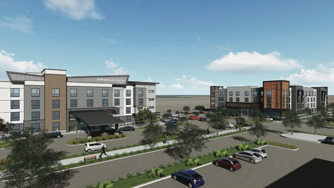A rendering shows two hotels set to begin construction in Oxnard later this year.