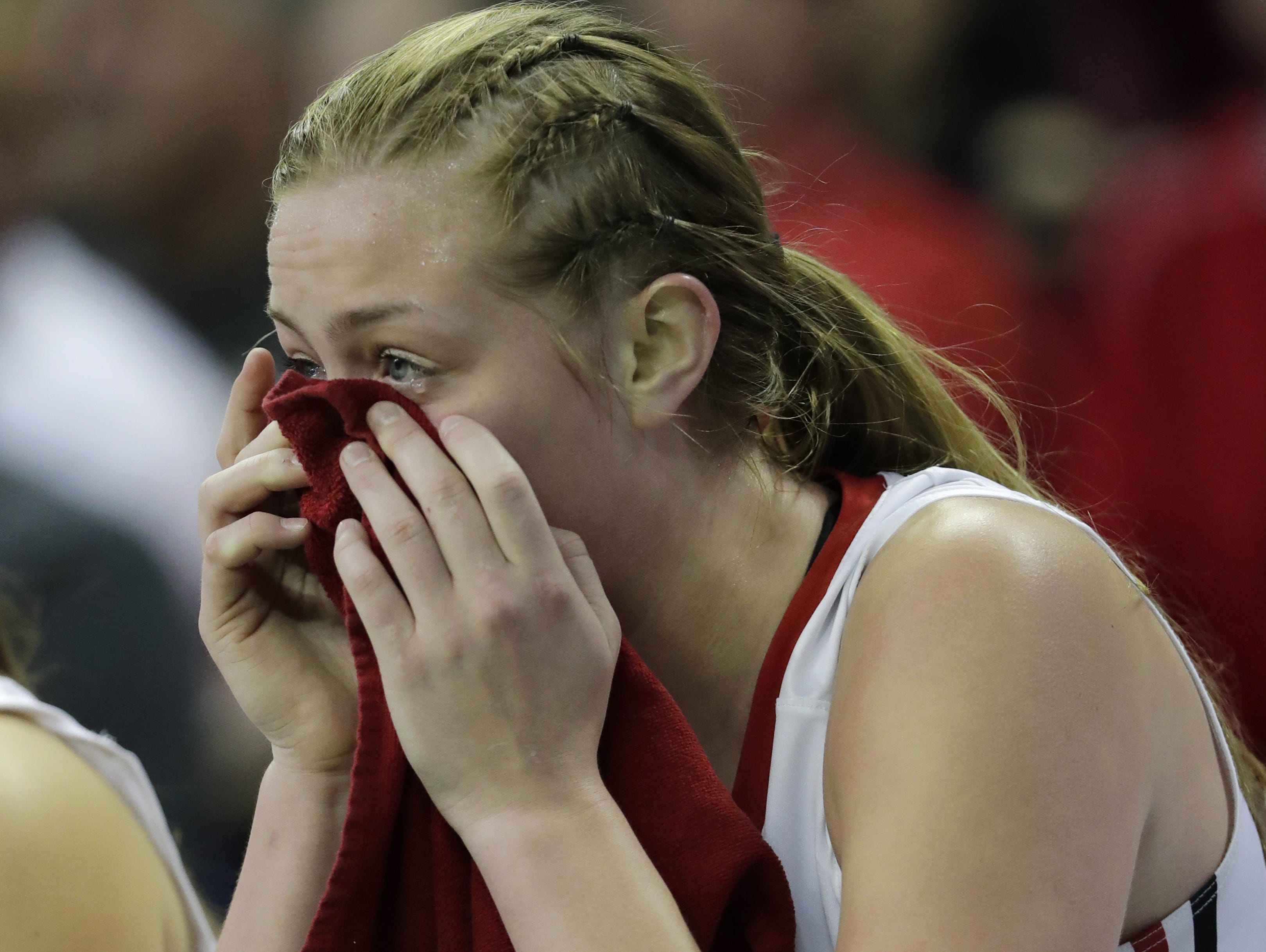 Hortonville High School's Morgan Allen reacts after fouling out late in the game against Cudahy High School during their WIAA Division 2 state tournament semifinal girls basketball game Friday, March 10, 2017, at the Resch Center in Ashwaubenon.