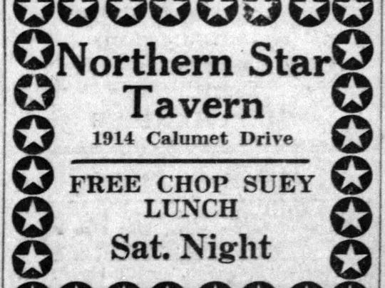 Sheboygan Press advertisement for Northern Star touting its Chop Suey night.