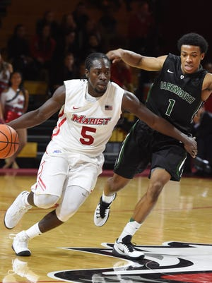Khallid Hart in action during the November 17th basketball game between Marist College and Dartmouth in Poughkeepsie.