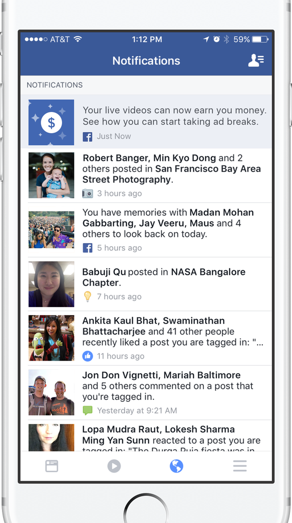 Facebook Live notification to begin earning money by