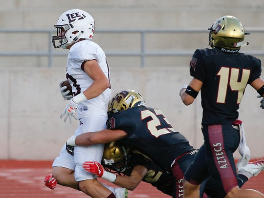 Midland Lee receiver Tyler Madrid races for the end