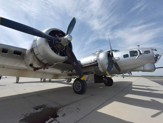 The B-17G Aluminum Overcast bomber awaits its flight crew on the tarmac of John Bell Wiliams Airport in Raymond. The WWII era plane is here providing tours at the airport Oct. 20-22nd.