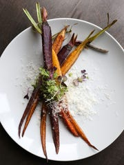 Roasted heirloom carrots at the Clock Tower Grill in