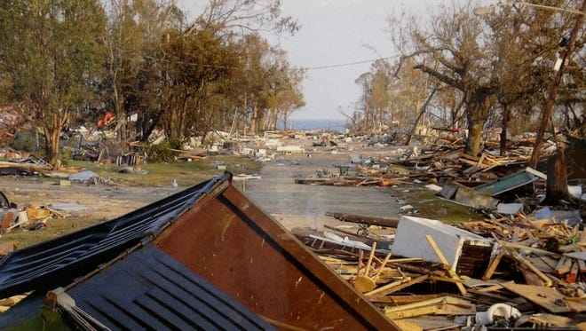This undated photo provided by Waveland, Miss., Mayor David Garcia shows downtown Waveland after Hurricane Katrina devastated the town in 2005. (AP Photo/Courtesy of David Garcia)