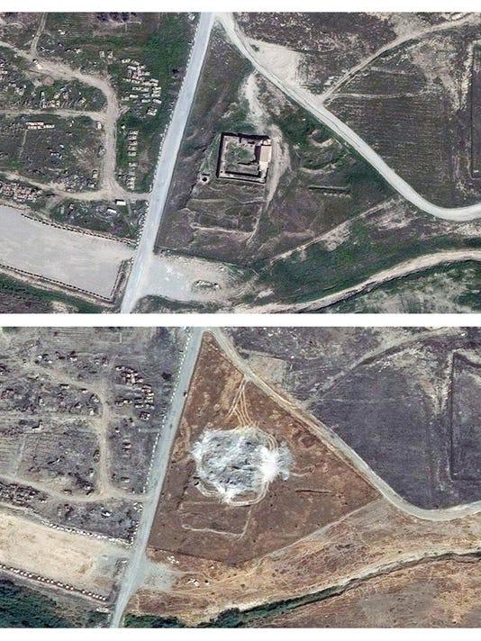 Mideast Iraq Monastery Destroyed (2)