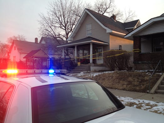 The house where four police officers were shot while serving a warrant, Wednesday, March 5, 2014, on South State Avenue in Indianapolis.