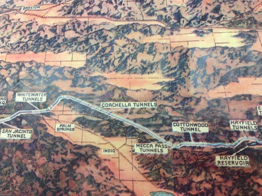 Map of the Colorado River Aqueduct running through the Coachella Valley. The 242-mile aqueduct stretches from Parker Dam at the Arizona border to Lake Mathews in western Riverside County. Image courtesy of the Coachella Valley History Museum in Indio.
