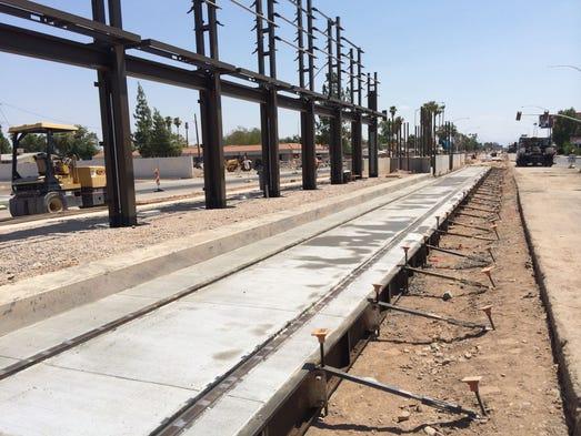 Mesa light-rail construction