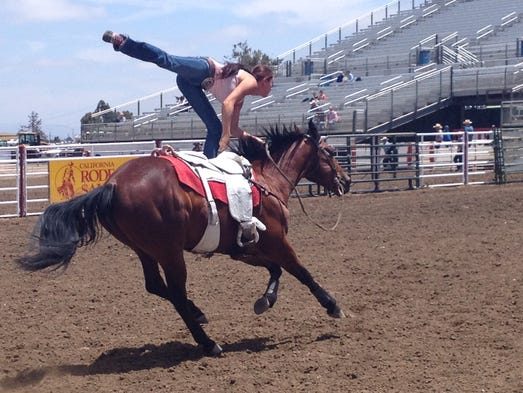 The Riata Ranch Cowboy Girls practice Thursday at California Rodeo Salinas.