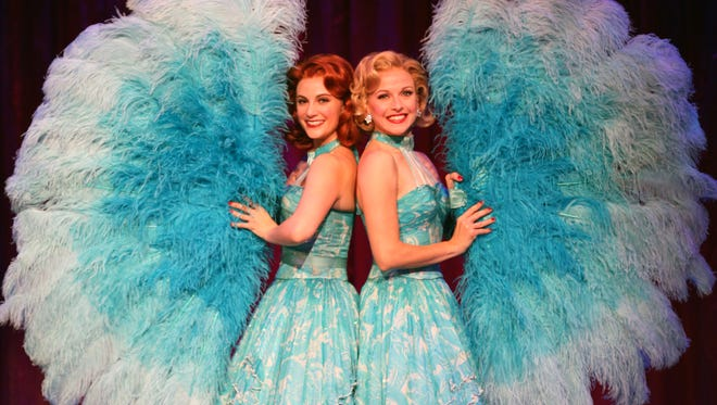 "Trista Moldovan (left) and Meredith Patterson perform the ""Sisters"" number in Irving Berlin's ""White Christmas."""