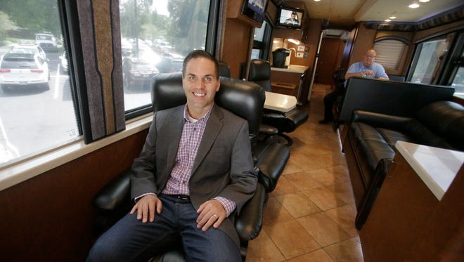 Eric Beach, co-chairman of Great America PAC --- on the group's bus during a pre-election campaign stop in Florida --- could be among those helping build outside support to help Trump achieve his goals in office.