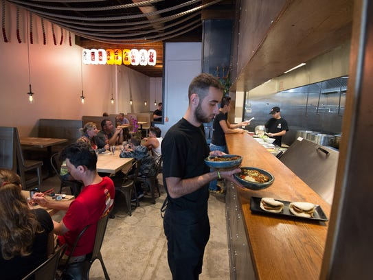 Miyagi Ramen Bar in Rehoboth features an open kitchen