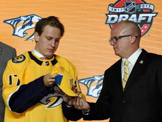The Predators selected Eeli Tolvanen with the No. 30 pick in the NHL draft in June.